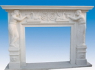 Carved Statue Fireplace Mantel in Marble