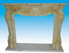Travertine Carved Fireplace Mantel